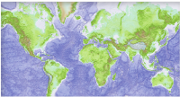 Massive grids such as this global terrain model can be automatically overlaid on local maps in alternate projections.
